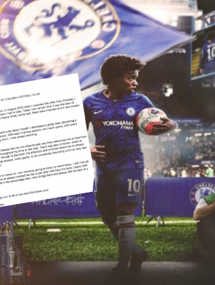 Willian posts Open Letter confirming exit from Chelsea